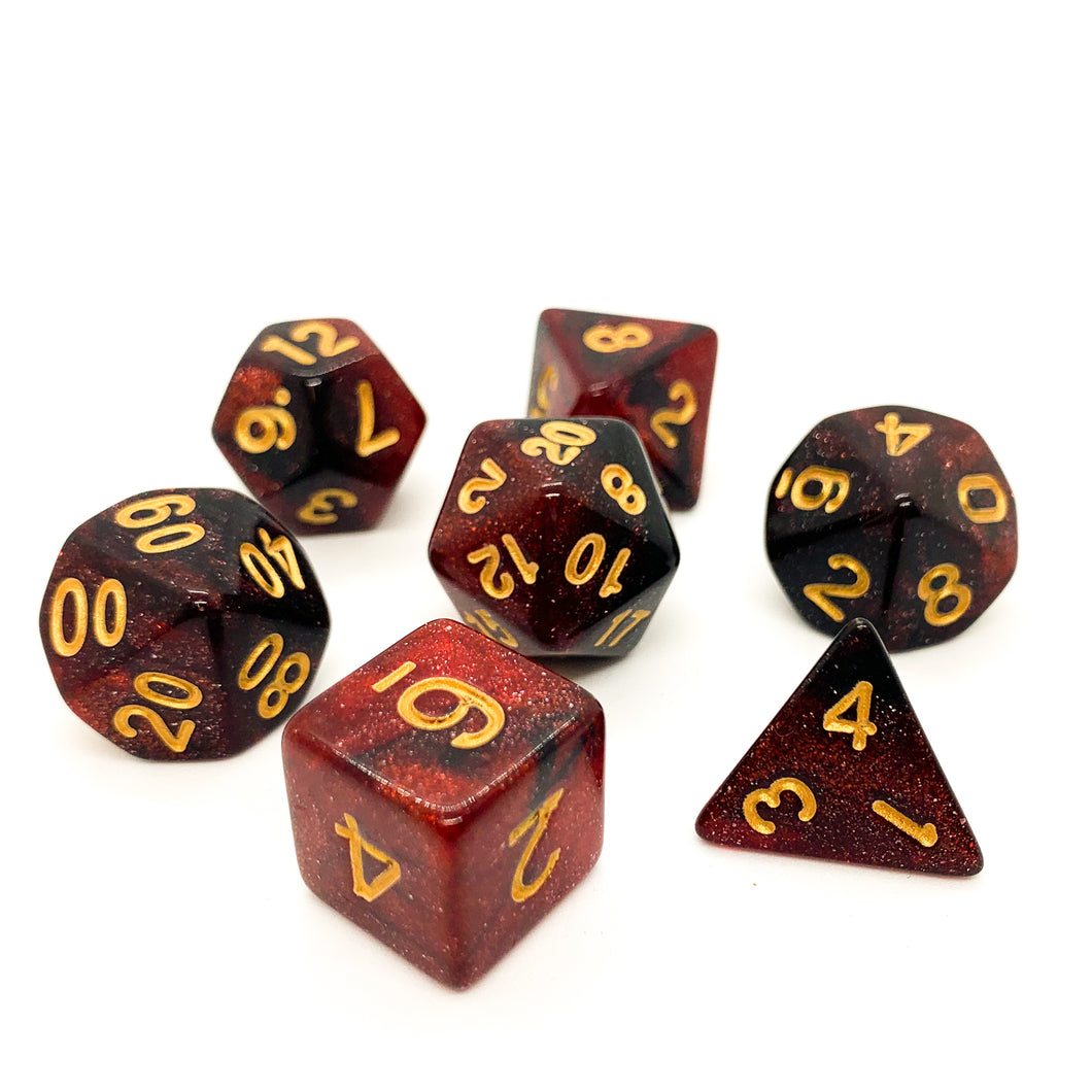 Blood Moon - Iridescent dice set - 7 piece RPG dice set