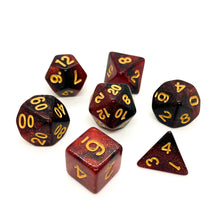 Load image into Gallery viewer, Blood Moon - Iridescent dice set - 7 piece RPG dice set