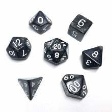 Load image into Gallery viewer, Kind of Goth - Black Pearl Dice set - 7 piece RPG dice set