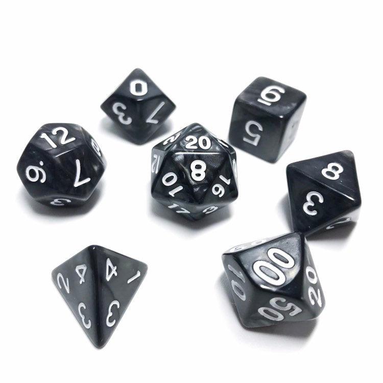 Kind of Goth - Black Pearl Dice set - 7 piece RPG dice set