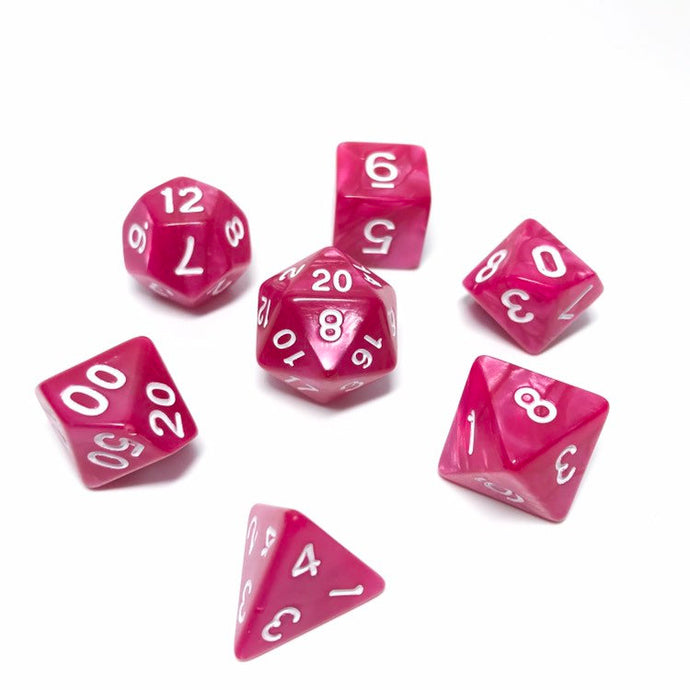 Cupid's Bow - Hot Pink Dice set - 7 piece RPG dice set