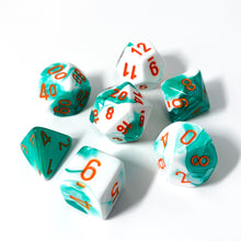 Load image into Gallery viewer, Gemini Mint Green & White - Chessex Lab 3, 7-piece set