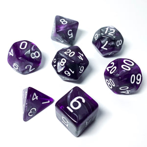 Gunmetal Purple - Metallic Swirl dice set - 7 piece RPG dice set