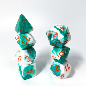 Gemini Mint Green & White - Chessex Lab 3, 7-piece set