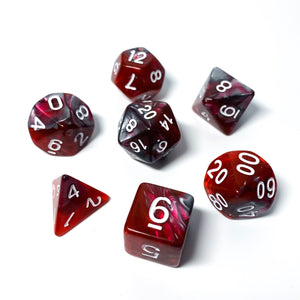 Gunmetal Red - Metallic Swirl dice set - 7 piece RPG dice set