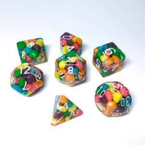 Custom Handmade Dice Commission - SOFT EDGE FULL 7-pc SET