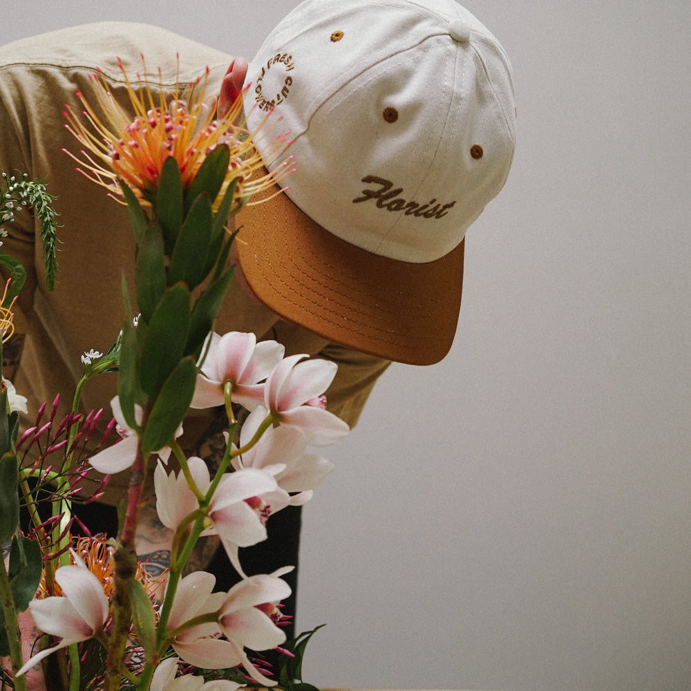 Florist 6 Panel Cap - Soil Brown and Cream
