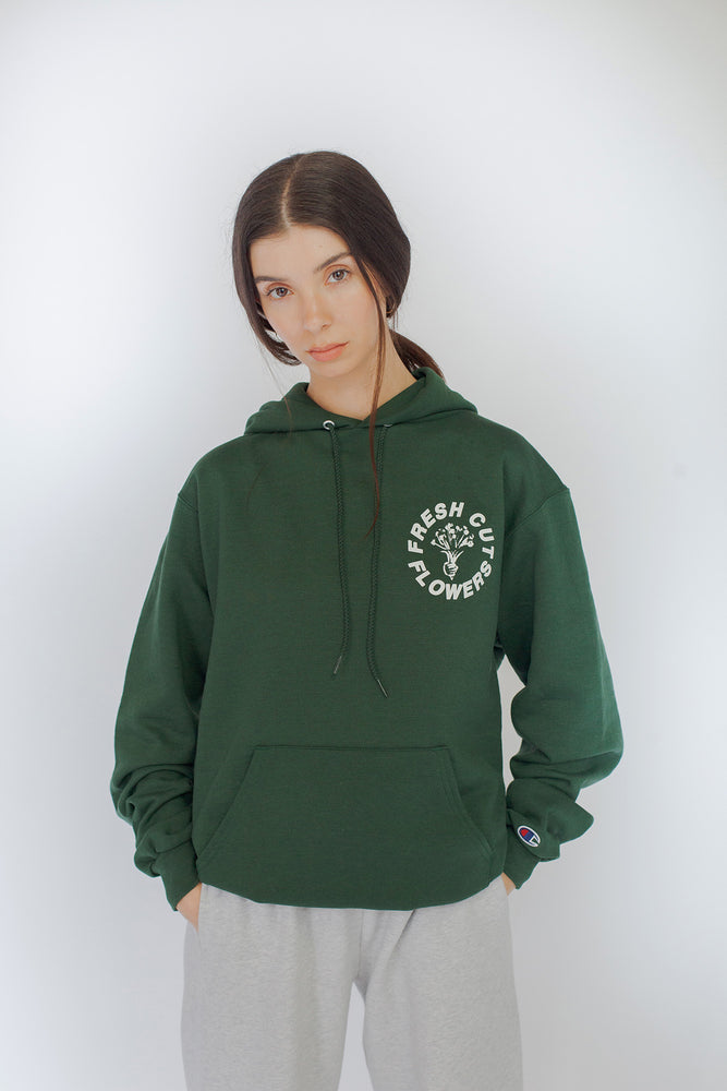 Give Flowers Champion® Hoodie - Dark Green