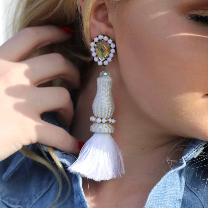 Whiteout Tassel Earrings