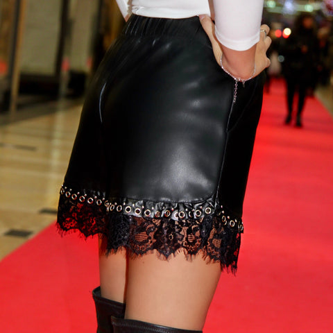 Short simili cuir noir