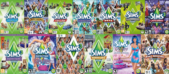 The Sims 3 COMPLETE Collection Bundle Set with 20 Expansions Video Games PC Windows