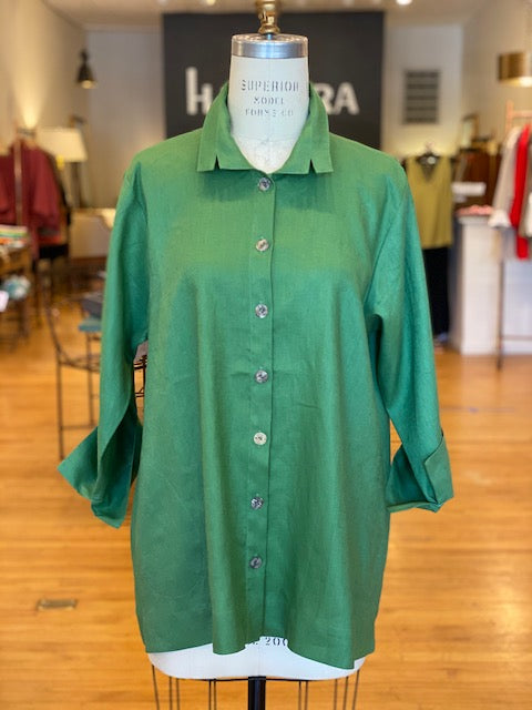 Orchard Shirt  -  Linen  -  Notch Collar - Green
