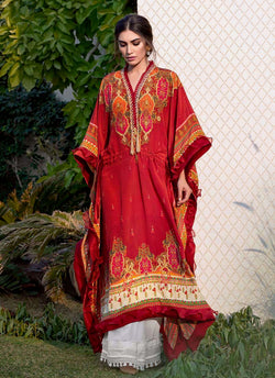 Red Moroccan Silk Beaded Kaftan