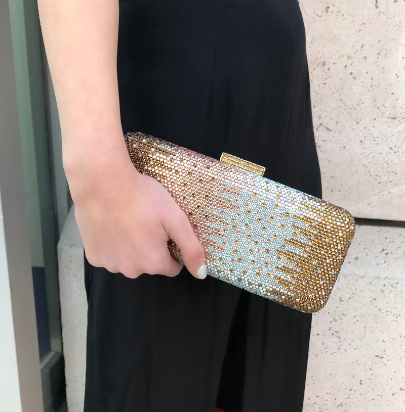 Gold Gradient Crystal Clutch