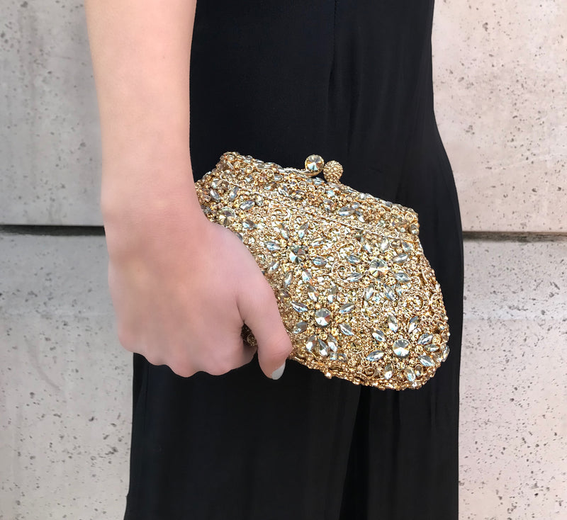 Gold Flower Crystal Clutch