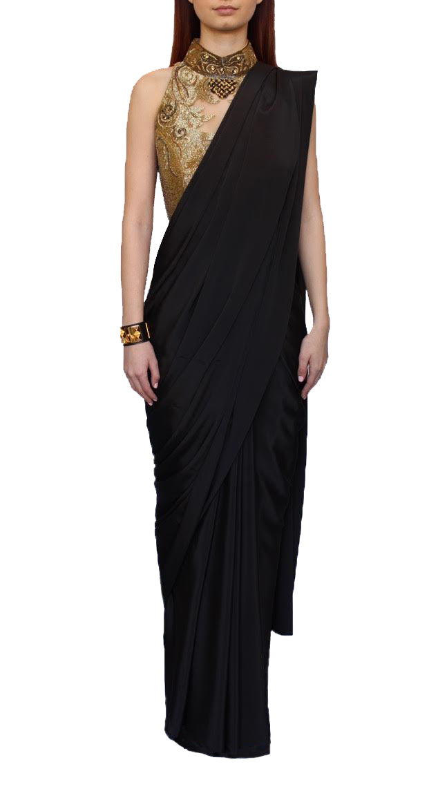 Black Silk Wrap Sari
