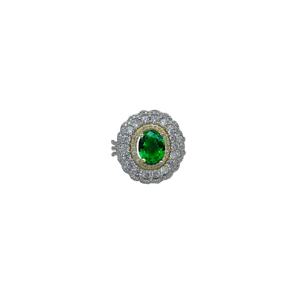Emerald Oval Triple Halo Cocktail Ring