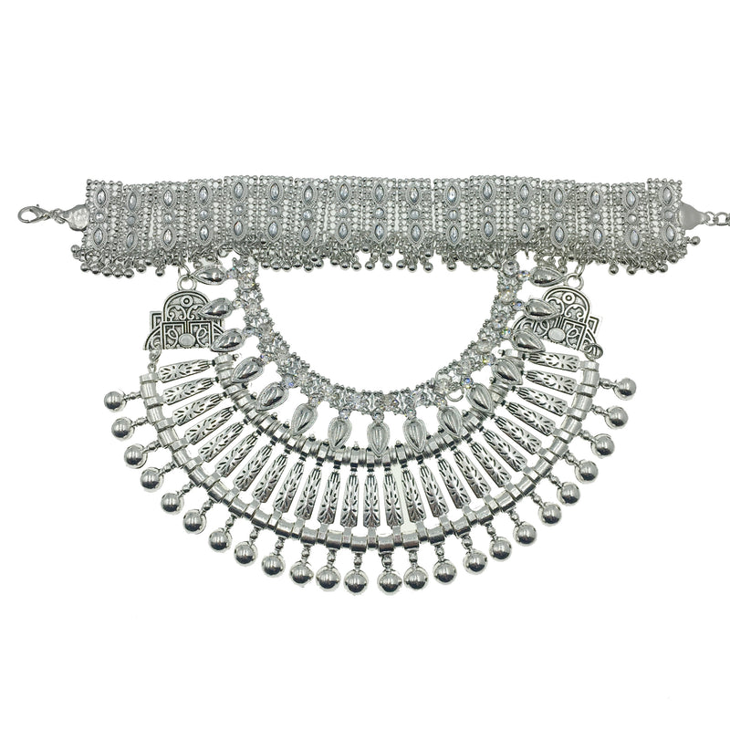 Silver Turkish 2 Layer Choker Necklace