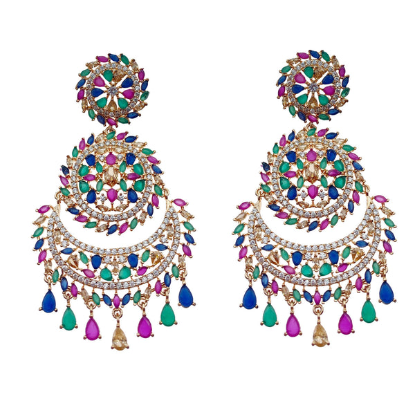 Multi Circle Chandelier Earrings and Tikka Headpiece
