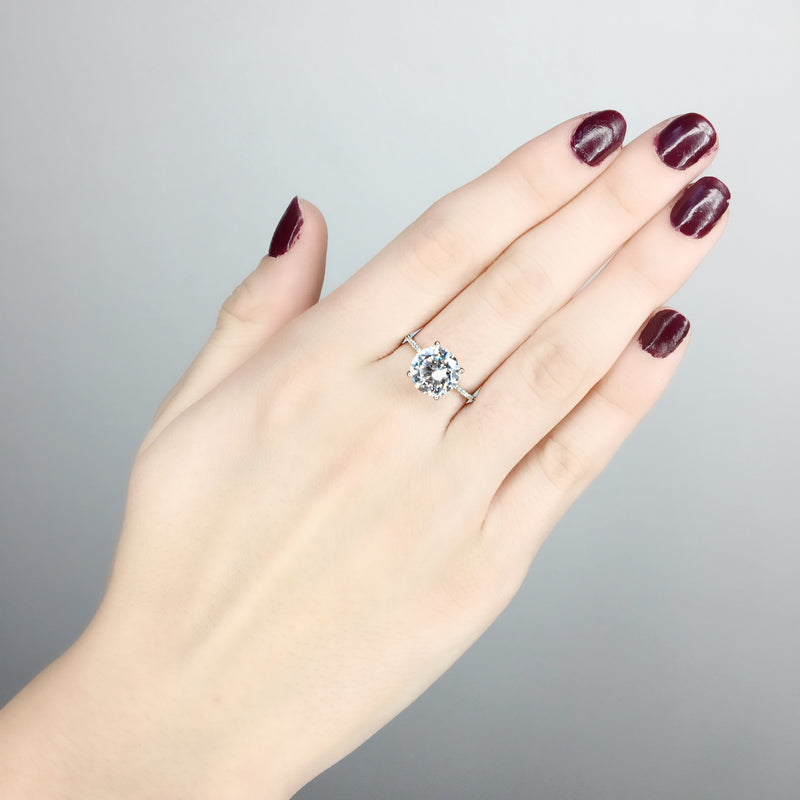 Dainty Solitaire Pave Band Ring