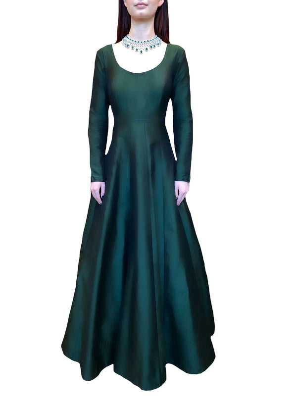 Emerald Luxe Silk Anarkali