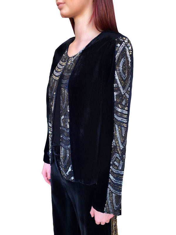 Black Velvet Cropped Sequin Jacket