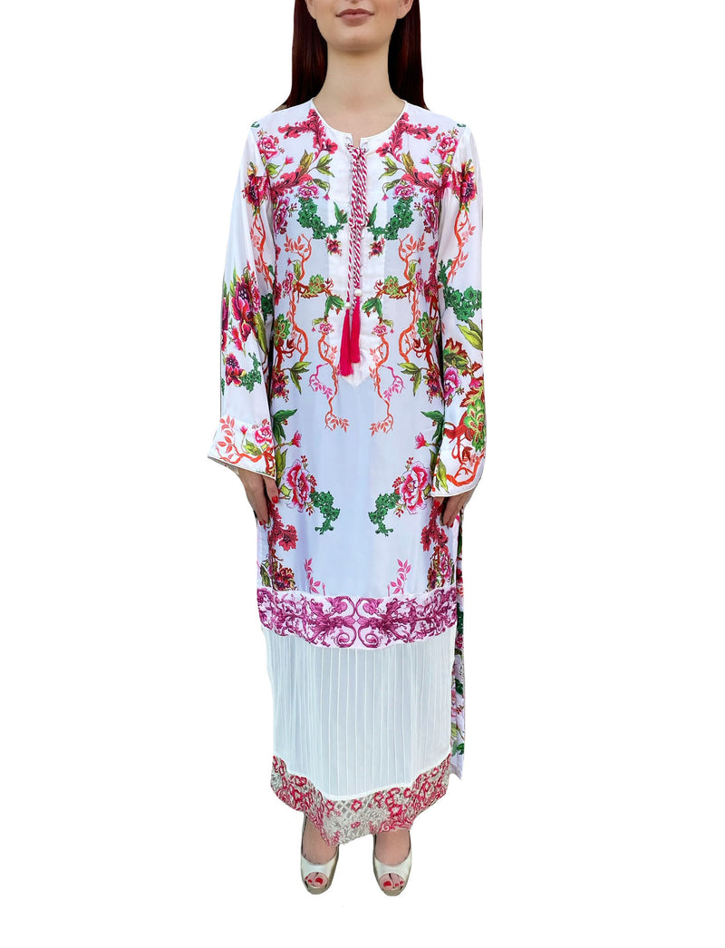 White Silk Floral Tunic