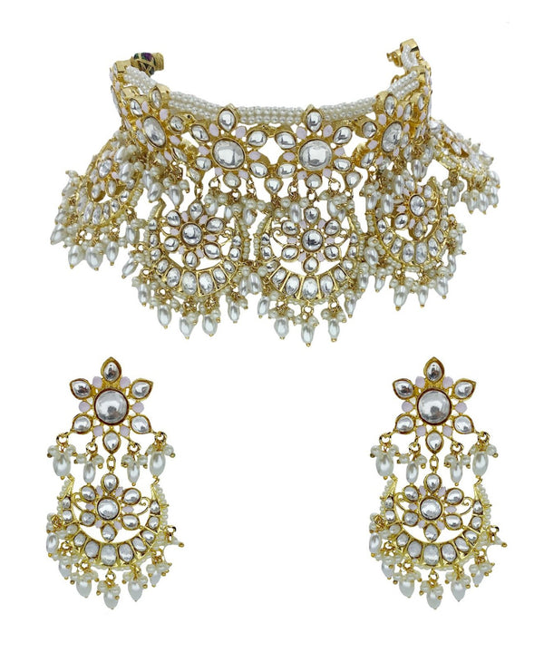 Kundan Floral Blush Crescents Choker Necklace & Earrings
