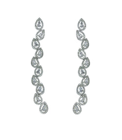 Teardrop Halo Longline Earrings