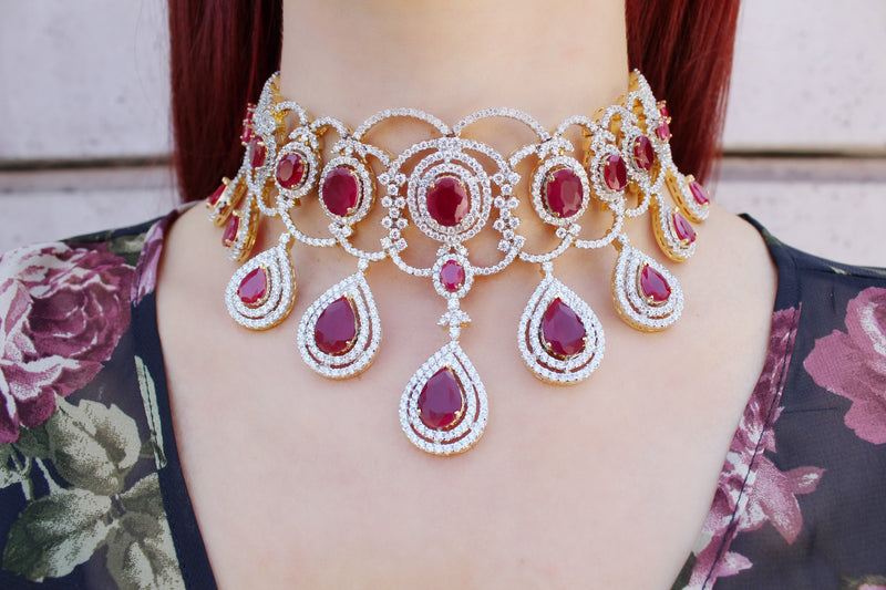 Ruby Drop Diamondesque Choker Necklace & Earrings