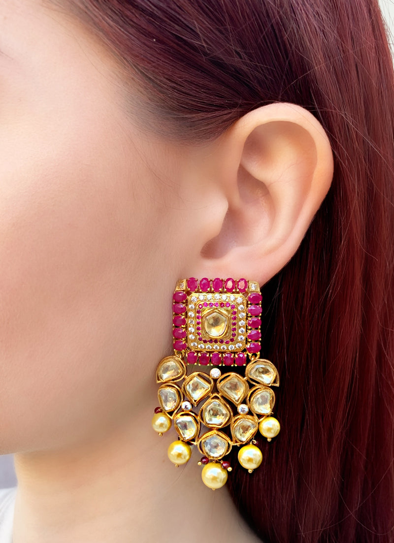 Ruby Kundan Square Drop Earrings
