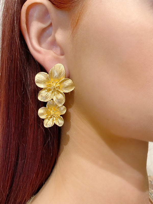 Gold Bloom Flower Earrings