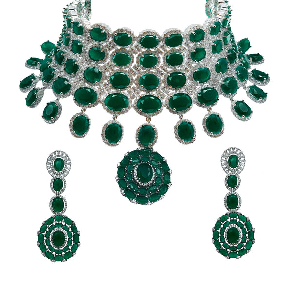 Emerald Ovals Pendant Four Layer Choker Necklace & Earrings