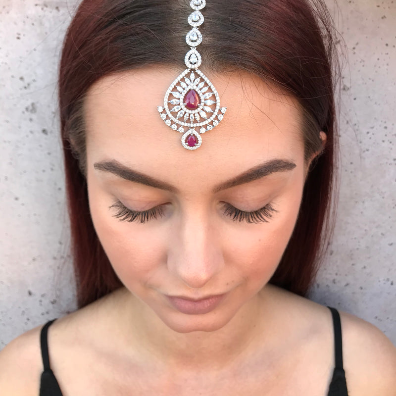 Ruby Double Teardrop Tikka Headpiece
