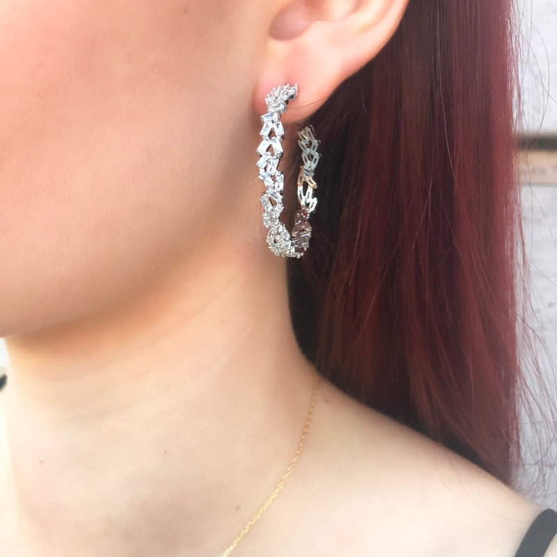 Mixed Baguette Hoop Earrings