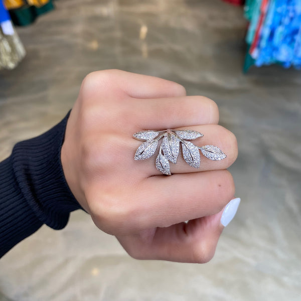 Pave Leafy Cocktail Ring