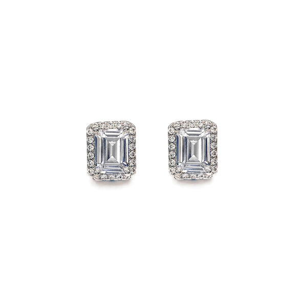 Princess Cut Halo Stud Earrings