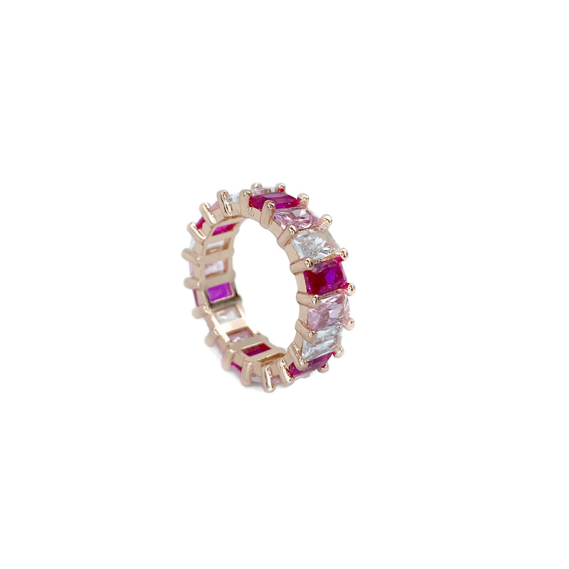 Shades of Pink Eternity Band Ring