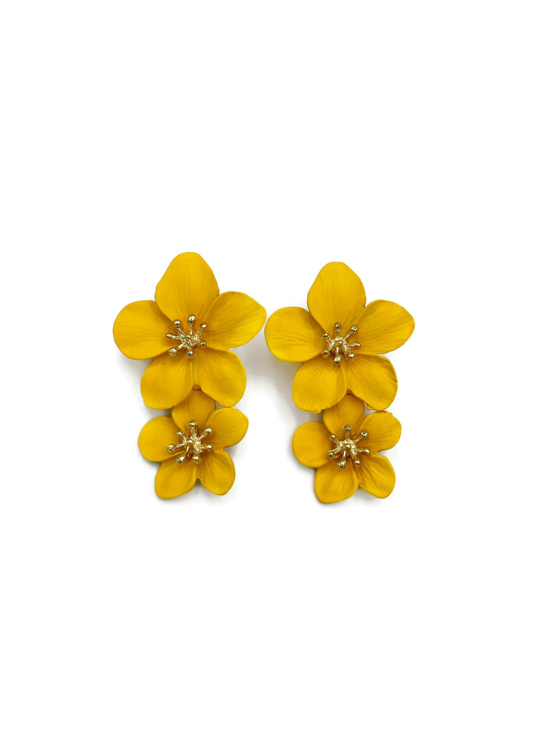 Yellow Bloom Flower Earrings