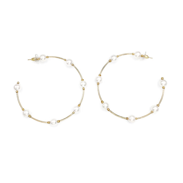 Gold Wire Pearl Hoop Earrings