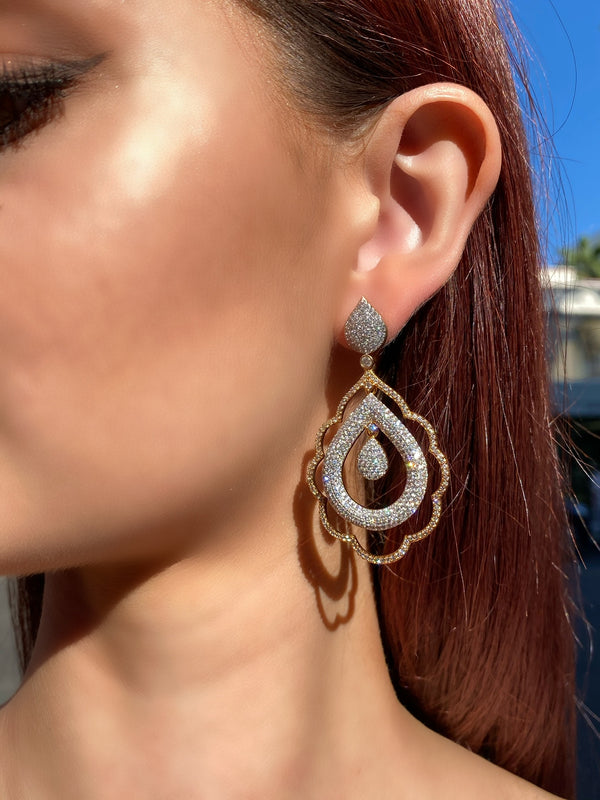 Pave Two Tone Scalloped Layered Earrings