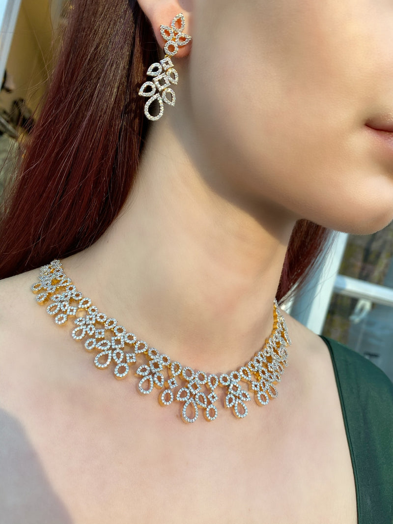 Geo Cutout Pave Necklace and Earrings