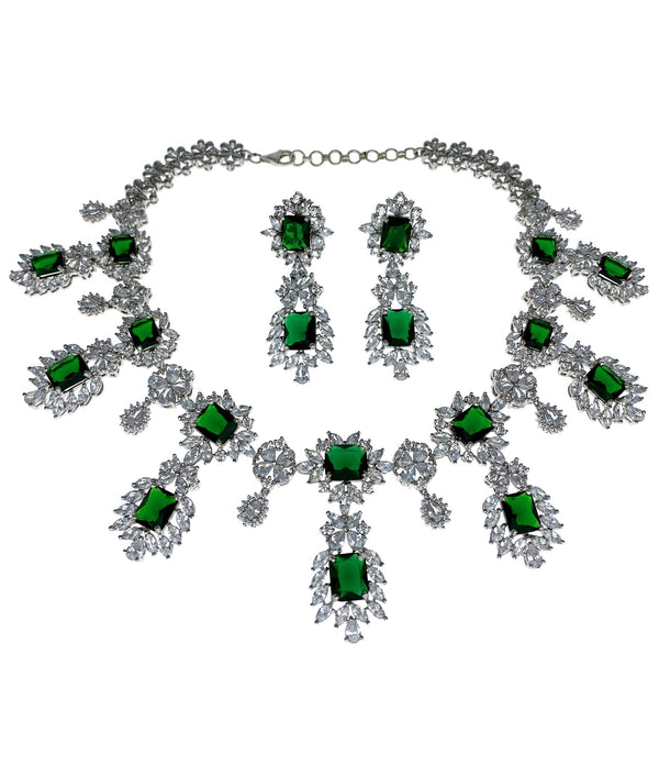 Emerald Princess Cut Necklace and Earrings