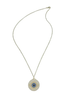 Gold Circle Evil Eye Pendant Necklace