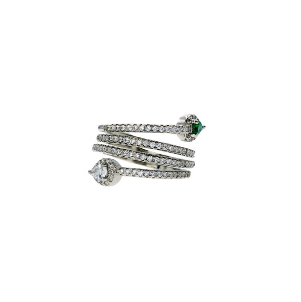 Pave Wrap Emerald Drop Ring