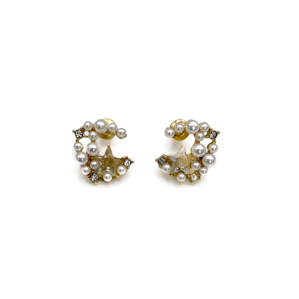 Moon Pearl Cluster stud earrings
