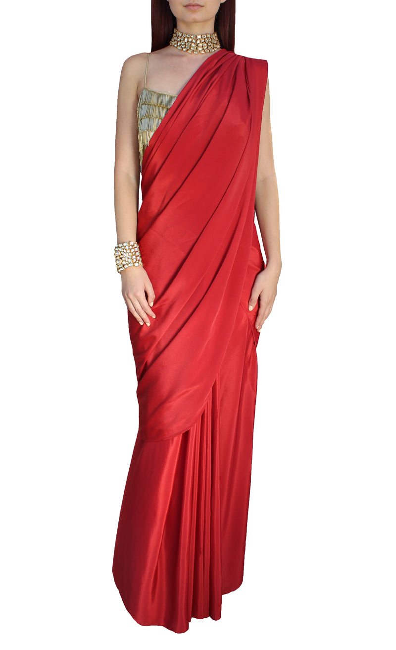 Red Silk Wrap Sari