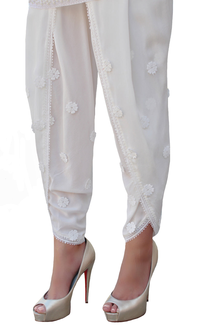 Silk Flower Tulip Shalwar Pants