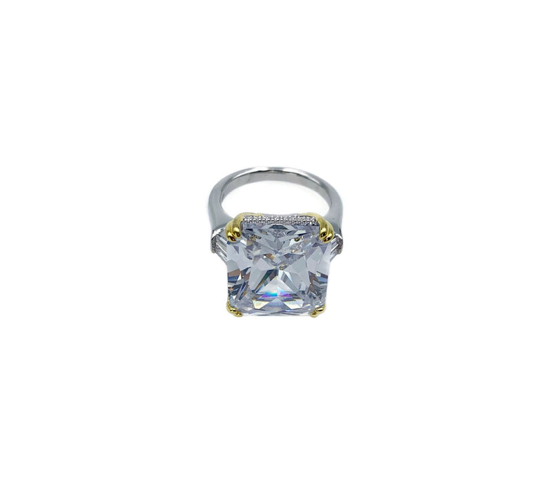 Statement Diamondesque 3 Stone Ring