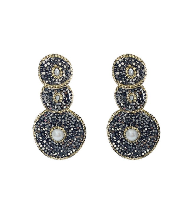 Three Circle Turkish Druzy Pearl Earrings